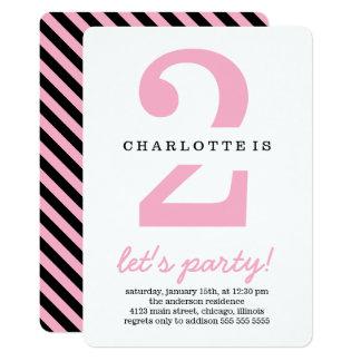 Rosa u. schwarzes Streifen-Kindergeburtstag-Party 12,7 X 17,8 Cm Einladungskarte