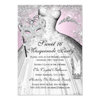 Rosa u. silberne Prinzessin Masquerade Sweet 16 12,7 X 17,8 Cm Einladungskarte