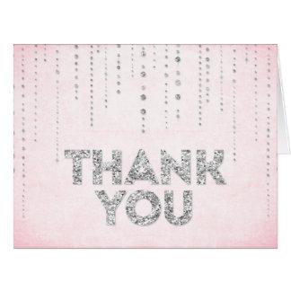 Rosa u. silberner Glitter-Blick danken Ihnen zu Grußkarten