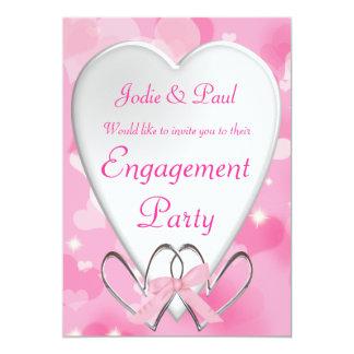 Rosa u. weiße Herz-Hochzeit - Verlobungs-Einladung 12,7 X 17,8 Cm Einladungskarte