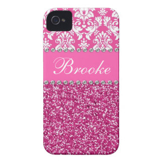 Rosa u. weißer Damast-u. Glitter-diamante de iPhone 4 Cover