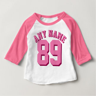 Rosa u. weißer Sport Jersey des Baby-| Baby T-shirt