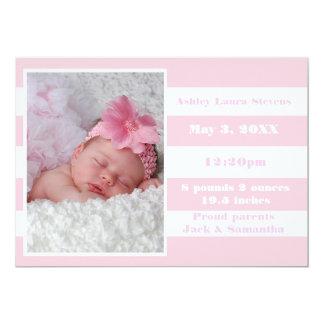Rosa u. weißer Streifen - Geburts-Mitteilung 12,7 X 17,8 Cm Einladungskarte