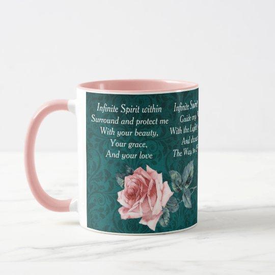 Rosa und aquamarines Morgen-Gebet Tasse