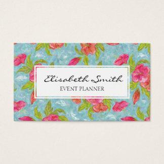 Rosa und Blau gemalte Blume, Blumenmuster Visitenkarte