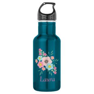 Rosa und blaue Blumenanzeige Edelstahlflasche