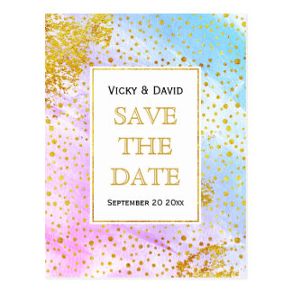 Rosa und blauer Watercolor, der Save the Date Postkarte