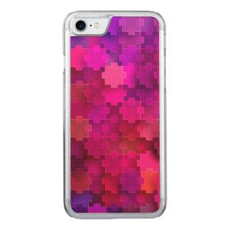 Rosa und blaues quadratisches Puzzlespiel bessert Carved iPhone 8/7 Hülle