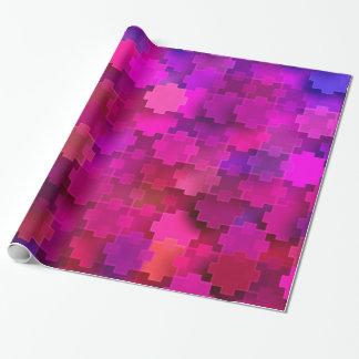 Rosa und blaues quadratisches Puzzlespiel bessert Geschenkpapier