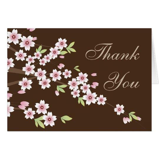 Rosa-und Brown-Kirschblüte, danke zu merken Mitteilungskarte