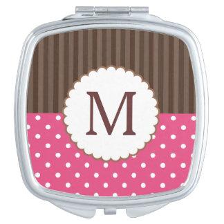 Rosa und Brown-Tupfen-Streifen-Monogramm Taschenspiegel