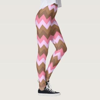 Rosa-und Brown-Zickzack-Muster Leggings