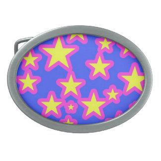 Rosa-und Gelb-helle hübsche Stern-Gürtelschnalle Ovale Gürtelschnallen