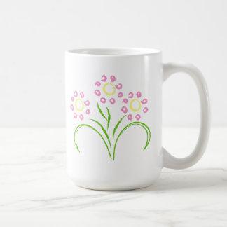 Rosa und gelbe Blumen Kaffeetasse