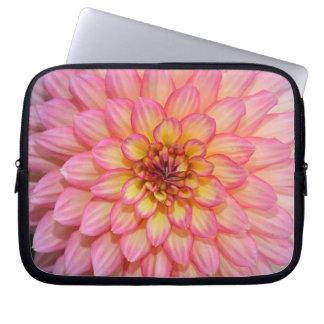 Rosa und gelbe Dahlie-Blumen-Laptophülse Laptopschutzhülle