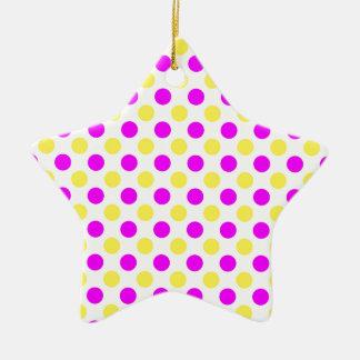 Rosa und gelbe Tupfen Keramik Stern-Ornament