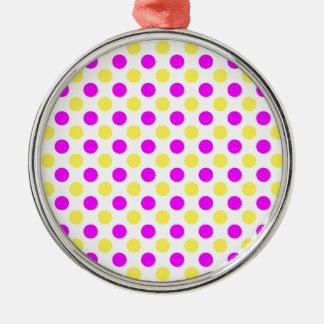 Rosa und gelbe Tupfen Rundes Silberfarbenes Ornament