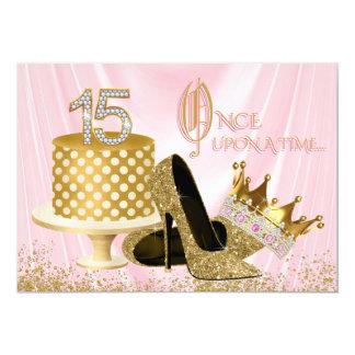 Rosa und Gold Quinceanera 12,7 X 17,8 Cm Einladungskarte