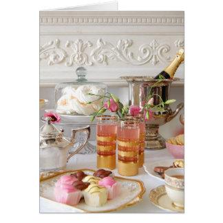 Rosa und Goldgeburtstags-Karte, englischer Tee, Karte