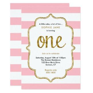 Rosa und GoldGlitter-erste Geburtstags-Einladung 12,7 X 17,8 Cm Einladungskarte