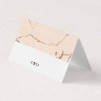 Rosa- und Goldmarmoreffekt-Platzkarten - gefaltet Karte