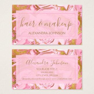 Rosa und Goldmarmorhaar und -make-up Visitenkarte
