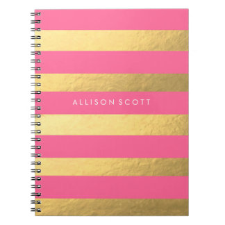 Rosa und Goldpersonalisiertes Notizbuch Notizblock