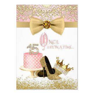 Rosa und GoldQuinceanera Geburtstags-Party 11,4 X 15,9 Cm Einladungskarte
