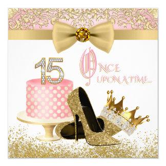Rosa und GoldQuinceanera Geburtstags-Party Quadratische 13,3 Cm Einladungskarte