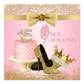 Rosa und GoldQuinceanera Prinzessin 15. Geburtstag Quadratische 13,3 Cm Einladungskarte