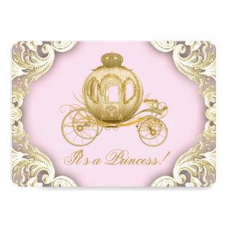 Rosa und Goldwagen-königliche Prinzessin Babyparty 12,7 X 17,8 Cm Einladungskarte