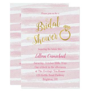 Rosa und Goldwatercolor-Streifen-Brautparty Karte
