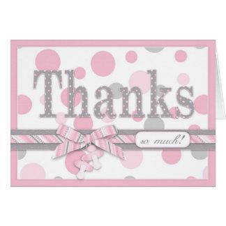 Rosa und graue Tupfen danken Ihnen Babyparty Karte