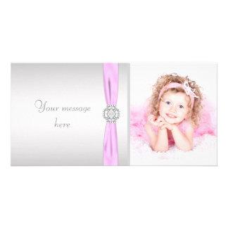 Rosa und graues Foto danken Ihnen Fotokarte