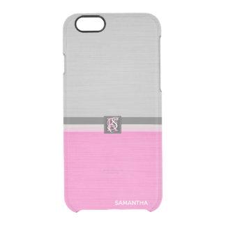 Rosa und graues Initialen-Monogramm des einfachen Durchsichtige iPhone 6/6S Hülle