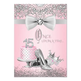 Rosa und graues Quinceanera 11,4 X 15,9 Cm Einladungskarte