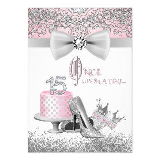 Rosa und graues Quinceanera Geburtstags-Party 11,4 X 15,9 Cm Einladungskarte