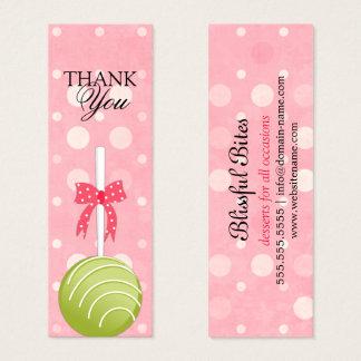 Rosa-und Grün-Kuchen-Pop dankt Ihnen etikettiert Mini Visitenkarte