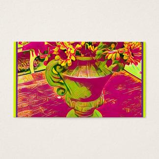 Rosa und grüne mit BlumenVisitenkarten Visitenkarte