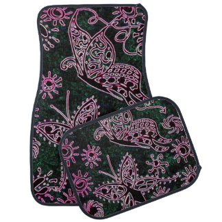 Rosa und grüne Schmetterlings-Auto-Auto-Matten Automatte