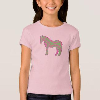 Rosa und grünes Paisley-Pony-Shirt T-Shirt
