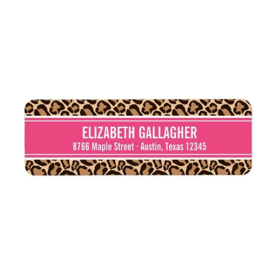 Rosa und Leopard-Druck Kleiner Adressaufkleber