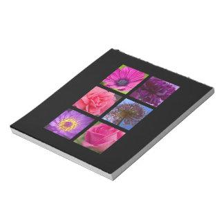 Rosa und lila Blumen Notizblock
