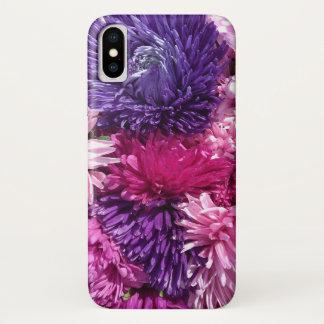 Rosa und lila Chrysanthemen iPhone X Hülle