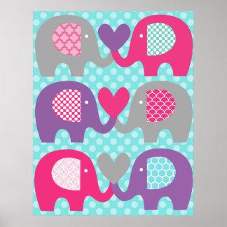 Rosa und lila Elefant-Liebe-Kinderzimmer-Plakat Poster