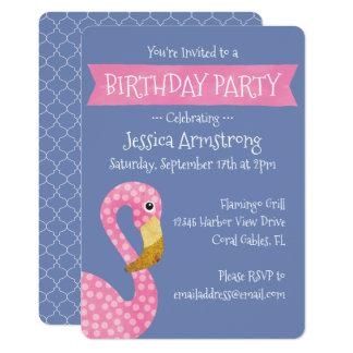 Rosa und lila Flamingo-Geburtstag Karte