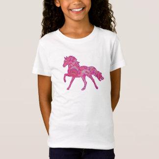 Rosa und lila laufendes PferdeShirt Paisleys T-Shirt