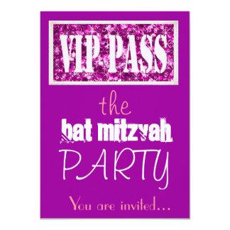 Rosa und lila Schläger Mitzvah VIP Party 11,4 X 15,9 Cm Einladungskarte
