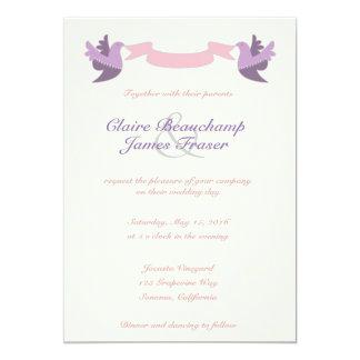 Rosa und lila Wedding Vögel 12,7 X 17,8 Cm Einladungskarte