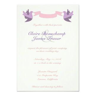 Rosa und lila Wedding Vögel Karte